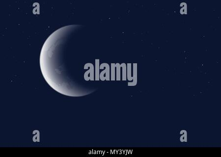 Vector illustration of blue night sky with crescent moon and stars - Stock Photo