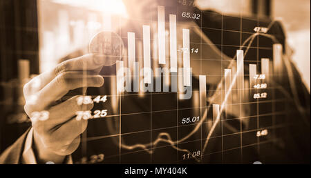 Modern way of exchange. Bitcoin is convenient payment in global economy market. Virtual digital currency and financial investment trade concept. Abstr - Stock Photo