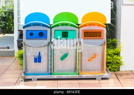 Yellow, green, blue recycle bins with recycle symbol in the park. - Stock Photo