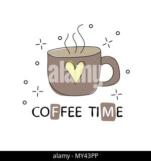 Hand drawn vintage coffee cup. Sketch style. Vector illustration. T-shirt print - Stock Photo