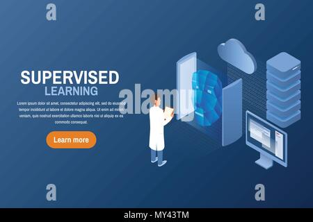 Supervised learning task concept. Artificial intelligence. Isometric vector illustration. Learning machine with human face. AI techniques and computer science. - Stock Photo