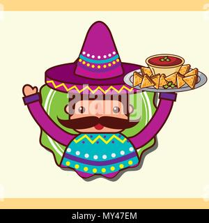 character man holding nachos and sauce mexican food vector illustration - Stock Photo