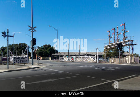 Railway Station and crossing in the city of Ballarat, Victoria, Australia - Stock Photo