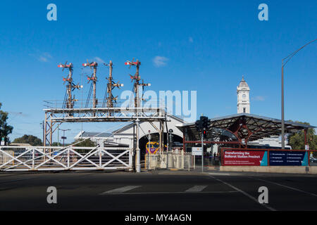 Railway Station and signals in the city of Ballarat, Victoria, Australia - Stock Photo