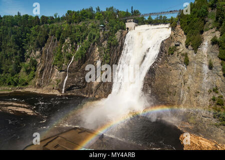 The waterfall Montmorency in Montmorency Falls Park, in Quebec - Stock Photo