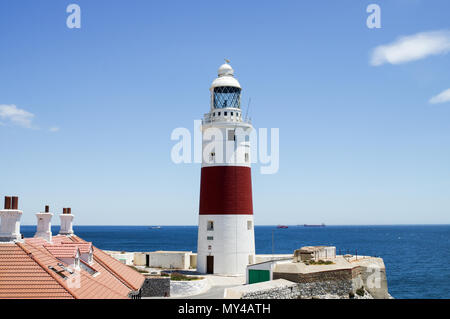 Trinity Lighthouse at Europa Point  on the southeastern tip of the British Overseas Territory of Gibraltar - Stock Photo