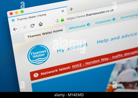 LONDON, UK - MAY 29TH 2018: The homepage of the website for Thames Water - the private utility company, on 29th May 2018. - Stock Photo