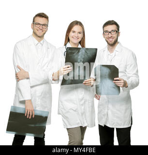 group of smiling doctors with x-rays.isolated on white - Stock Photo