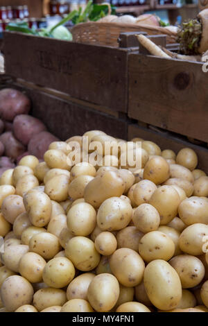 a large quantity of potatoes on a fruit and vegetable greengrocers stall on borough market in central London. fresh fruits and vegetables 5 a day. - Stock Photo