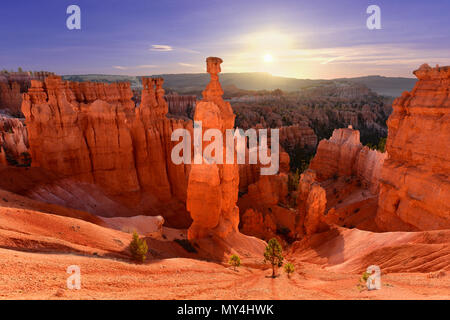Thor's hammer in Bryce Canyon National Park in Utah, USA at sunrise - Stock Photo