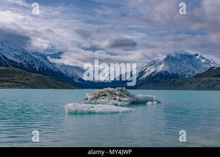 Blue Lakes and Tasman Glacier walks, Mount Cook National Park, New Zealand - Stock Photo