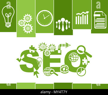 SEO - Search Engine Optimization Green Stripes Symbols - Stock Photo