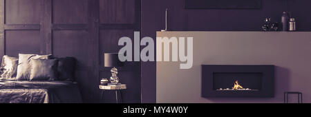 Real photo of a luxurious bio fireplace, silk sheets and elegant decorations in a beautiful dark purple bedroom interior - Stock Photo