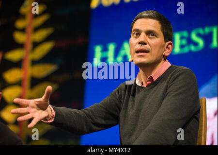 David Miliband speaking on stage at Hay Festival 2018 Hay-on-Wye Powys Wales UK - Stock Photo