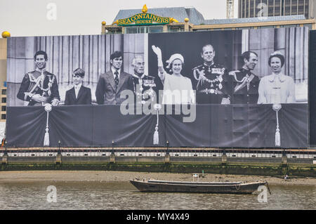 Sea containers House, River Thames, London with royal family picture in celebration of the Diamond Jubilee in 2012 London. Queen Elizabeth - Stock Photo