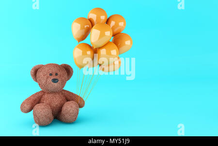 3d illustration. Funny teddy bear with balloons on blue background. - Stock Photo