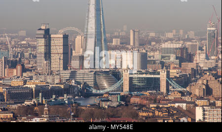 London, England, UK - February 27, 2015: Tower Bridge, Guy's Hospital and The Shard skyscraper are prominent in the cityscape of Southwark, also featu - Stock Photo