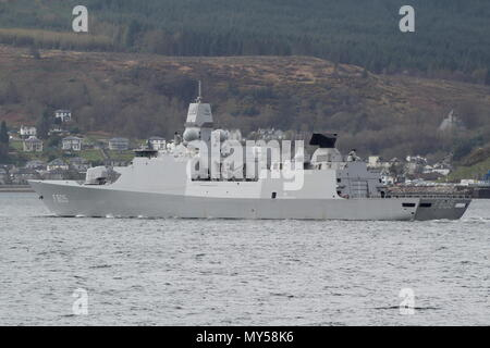 HNLMS Evertsen (F805), a De Zeven Provincien-class frigate operated by the Dutch Navy, passing Gourock at the start of Exercise Joint Warrior 18-1. - Stock Photo