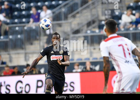 Chester, Pennsylvania, USA. 5th June, 2018. Philadelphia Union Defender, CORY BURKE (19) runs for the ball during the match between the Union and the Richmond Kickers at Talen Energy Stadium, Chester PA Credit: Ricky Fitchett/ZUMA Wire/Alamy Live News - Stock Photo