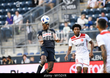 Chester, Pennsylvania, USA. 5th June, 2018. Philadelphia Union Defender, CORY BURKE (19) jumps for a header during the match between the Union and the Richmond Kickers at Talen Energy Stadium, Chester PA Credit: Ricky Fitchett/ZUMA Wire/Alamy Live News - Stock Photo