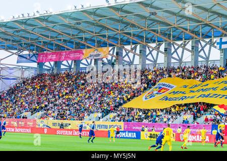 June 5, 2018: Supporters during the International Friendly Match - Romania vs. Finland at Ilie Oana Stadium in Ploiesti, Romania ROU. Copyright: Cronos/Catalin Soare - Stock Photo