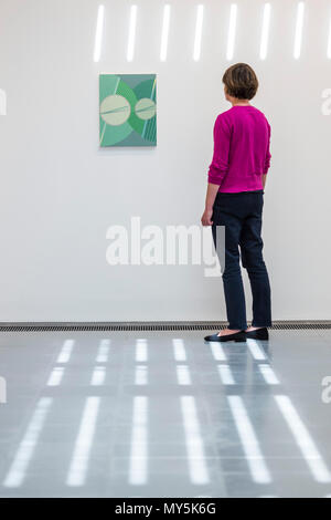 London, UK. 6th June, 2018. Schwiddo, 2008 - Tomma Abts exhibition at the Serpentine Gallery. It is the artist's first solo exhibition in a UK public institution. The winner of the 2006 Turner Prize she is known for her acrylic and oil paintings. Credit: Guy Bell/Alamy Live News - Stock Photo