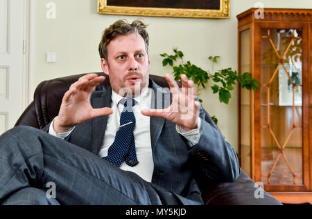 Prague, Czech Republic. 04th June, 2018. Ondrej Ditrych, new Director of the Czech 'Institute of International Relations', speaks during the interview for the Czech News Agency in Prague, Czech Republic, on June 4, 2018. Credit: Vit Simanek/CTK Photo/Alamy Live News - Stock Photo
