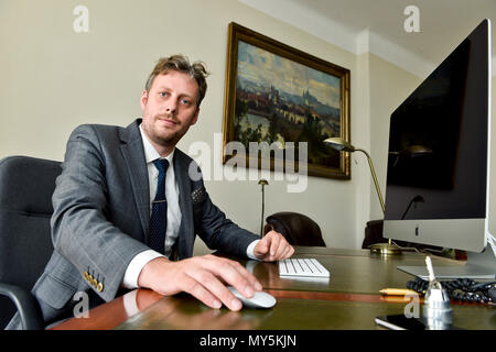 Prague, Czech Republic. 04th June, 2018. Ondrej Ditrych, new Director of the Czech 'Institute of International Relations', poses during the interview for the Czech News Agency in Prague, Czech Republic, on June 4, 2018. Credit: Vit Simanek/CTK Photo/Alamy Live News - Stock Photo