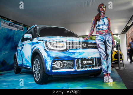 Turin, Piedmont, Italy. 6th June, 2018. Custom painted Suzuki Ignis Hybrid and painted model at Turin Motor Show 2018. Credit: Stefano Guidi/ZUMA Wire/Alamy Live News - Stock Photo