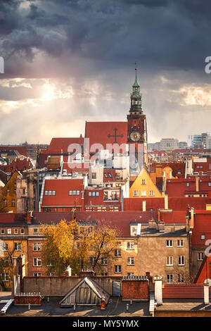 Bird view from the mathematical tower over University of Wroclaw, historical capital of Lower Silesia, Poland, Europe. - Stock Photo