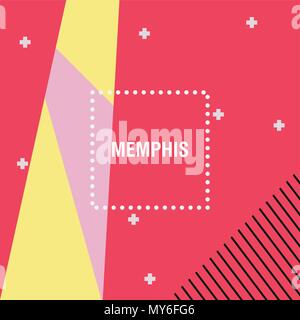 Memphis style design, Geometric elements background, colorful design. vector illustration - Stock Photo