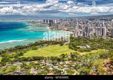 Panorama View over Honolulu from Diamond Head on Oahu, Hawaii - Stock Photo