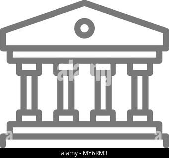 Simple building with columns line icon. Symbol and sign vector illustration design. Isolated on white background - Stock Photo
