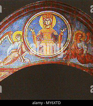 . Virgin Mary with two angels, en:Sant'Angelo in Formis . 12th century. Anonymous 552 Virgin Mary (Sant'Angelo in Formis) - Stock Photo