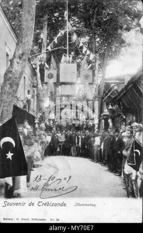 . English: Postcard featuring illumination for a festivity at Trebizond (Trabzon, Turkey). 10 June 2014, 18:21:12. Osman Nuri 254 Illumination at Trebizond - Stock Photo