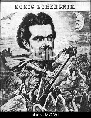 . English: Ludwig II of Bavaria portrayed as 'King Lohengrin' below a moon with the face of composer Richard Wagner. From 'Der Floh' 30.01.1885 . 1885. Anonymous 327 Lohengrin 1885 - Stock Photo