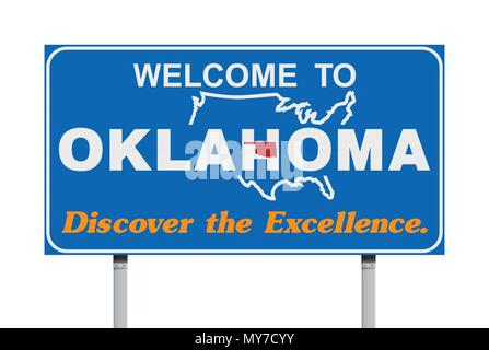 Vector illustration of the Welcome to Oklahoma blue road sign with the official nickname 'Discover the Excellence.' - Stock Photo