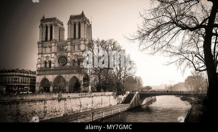 Notre Dame of Paris and River Seine, Ile de France, Paris, France - Stock Photo