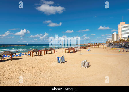 Beautiful view of the Tel-Aviv public beach on Mediterranean sea. Israel. - Stock Photo