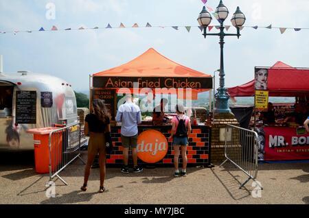 daja asian fried chicken stall at the street food festival at alexandra palace london UK 2018 - Stock Photo