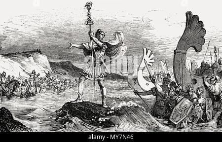 Gaius Julius Caesar, 100 - 44 BC, Roman statesman, invading Britain in 55 BC - Stock Photo