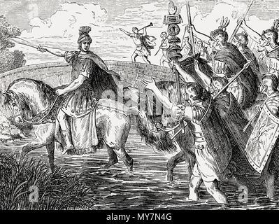 Gaius Julius Caesar, 100 - 44 BC, Roman statesman, crossing the river Rubicon in 49 BC - Stock Photo