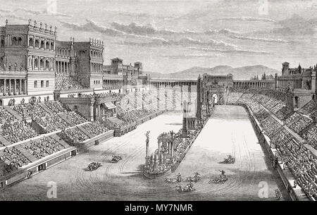 Reconstruction of the Circus Maximus in ancient Rome - Stock Photo