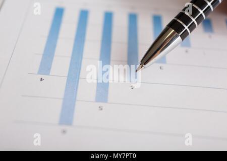 Pen on graph. Macro image.Financial data analysis concept - Stock Photo