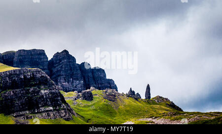 Old man of Storr, Scottish highlands in a cloudy morning - Scotland, UK - Stock Photo