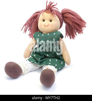 Doll made by hand. on a white background - Stock Photo