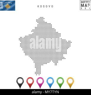 Vector Dotted Map of Kosovo. Simple Silhouette of Kosovo. The National Flag of Kosovo. Set of Multicolored Map Markers - Stock Photo