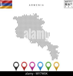 Vector Dotted Map of Armenia. Simple Silhouette of Armenia. National Flag of Armenia. Set of Multicolored Map Markers - Stock Photo
