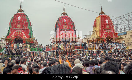 Puri, Orissa, India - August 9, 2011: A huge gathering of devotees from different parts of India at Puri on the occasion of ratha yatra, Puri, Orissa, - Stock Photo