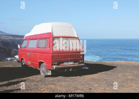 Van by the ocean, Lanzarote. - Stock Photo